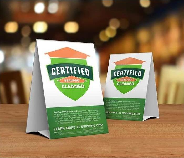 Certified: SERVPRO Cleaned table signs