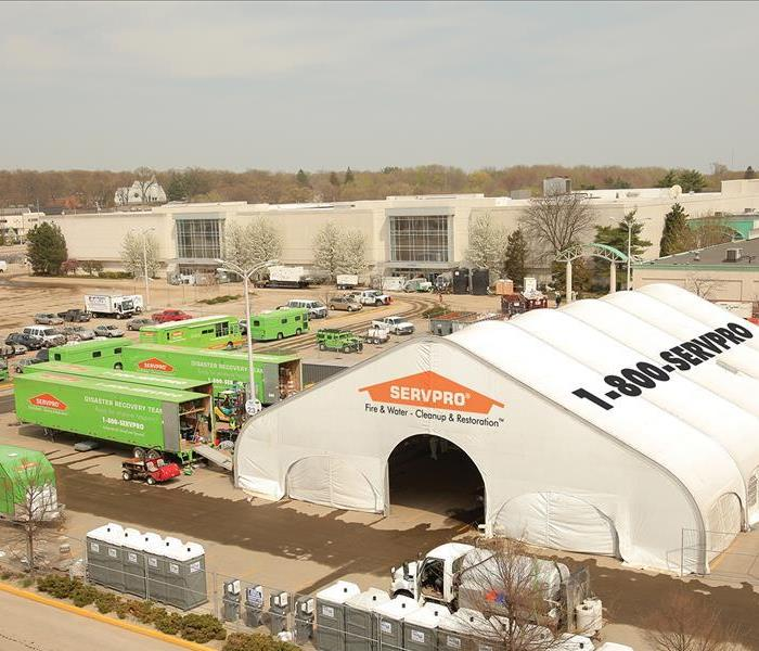 Servpro trucks and command center